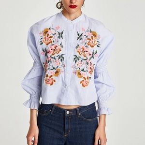 Zara Floral Embroidery Long Sleeve Shirt M